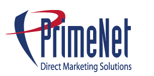 Direct mail postcards - logo PrimeNet Direct Marketing Solutions