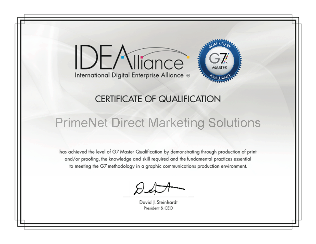 G7 Certified Printer Certificate PrimeNet Direct Mail