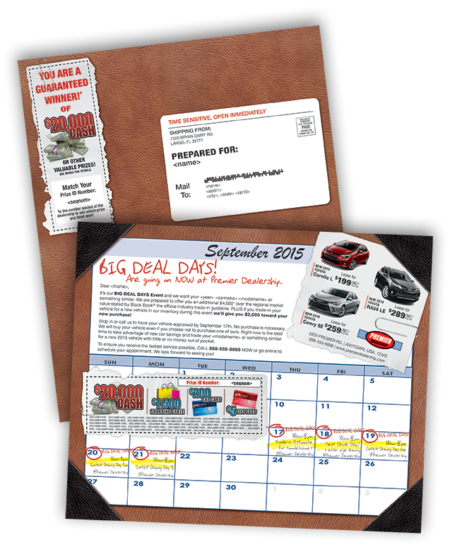 New Direct Mail Product leatherette calendar sample