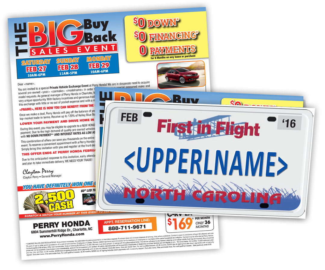 License Plate Mailer direct mail sample