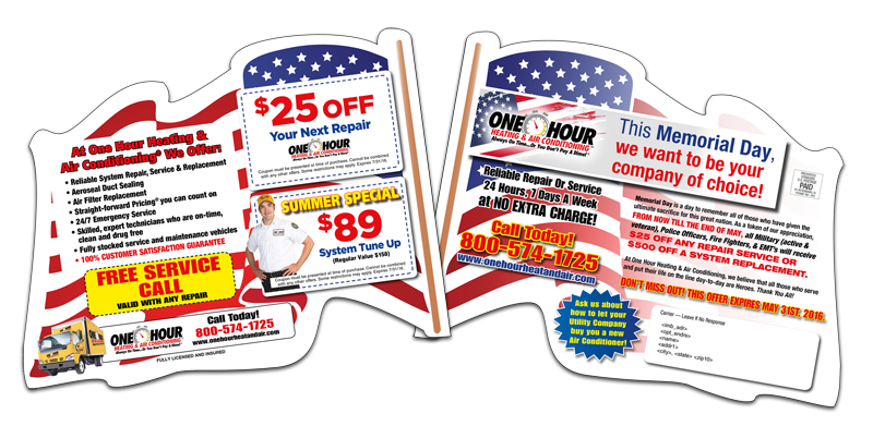 Direct Mail Flag Diecut Mailer HVAC Services