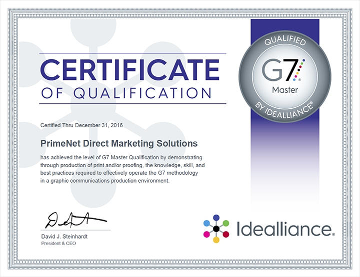 Idealliance G7 Master Qualification Certificate