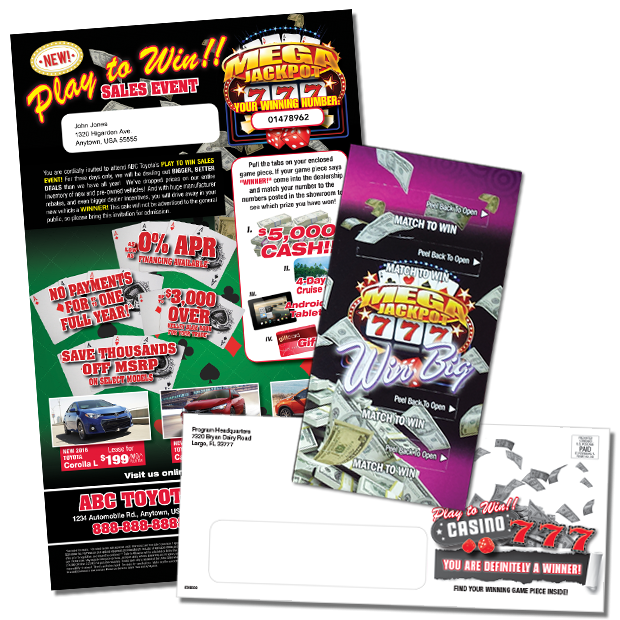 Pull-Tab game piece direct mail package