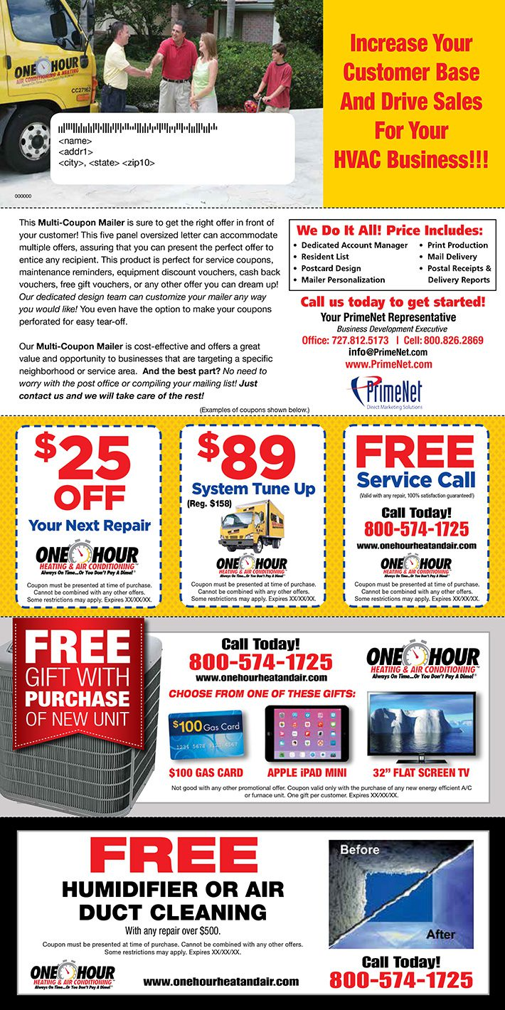 multi coupon direct mail letter hvac
