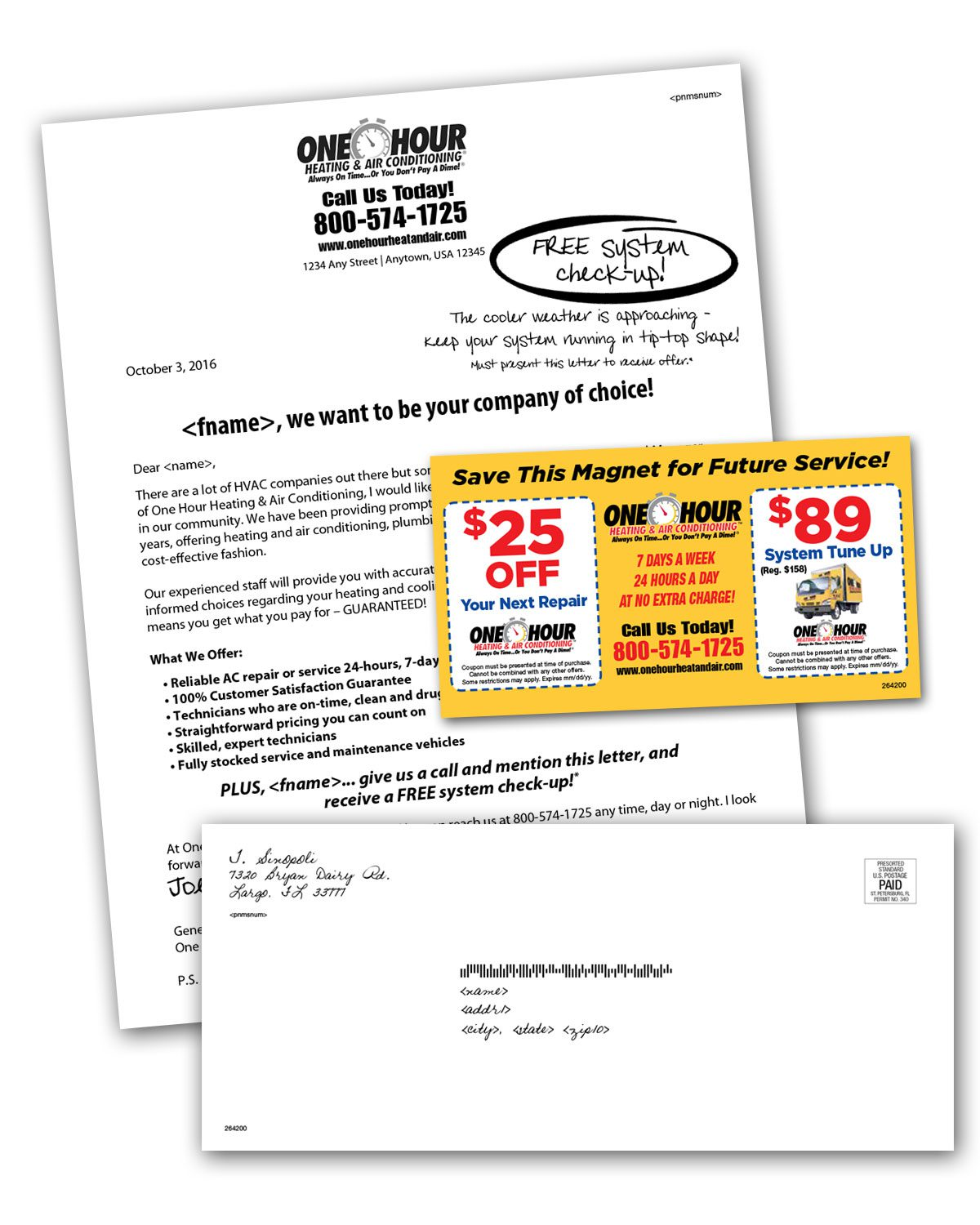 HVAC Direct Mail Letters Mailing Sample w Magnet Inserts