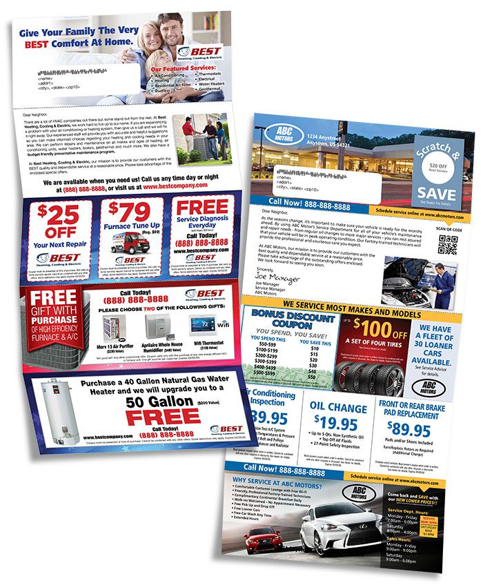 multi coupon direct mail pieces