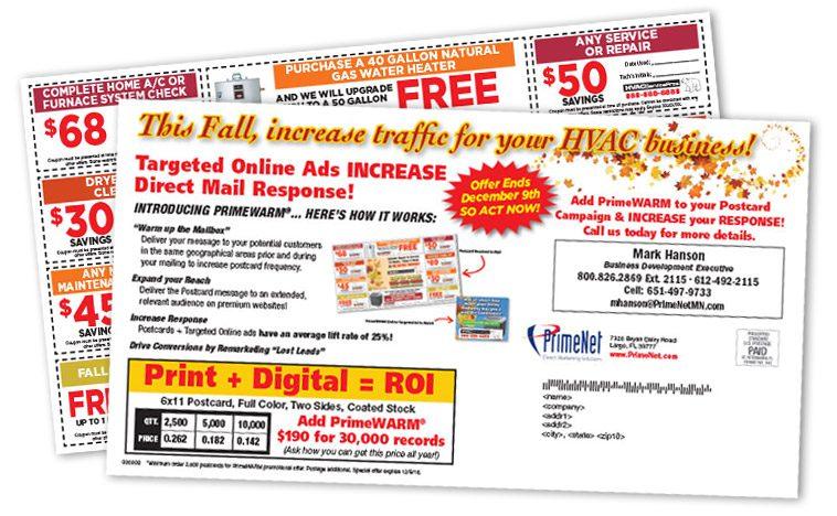 primewarm direct mail web target promo
