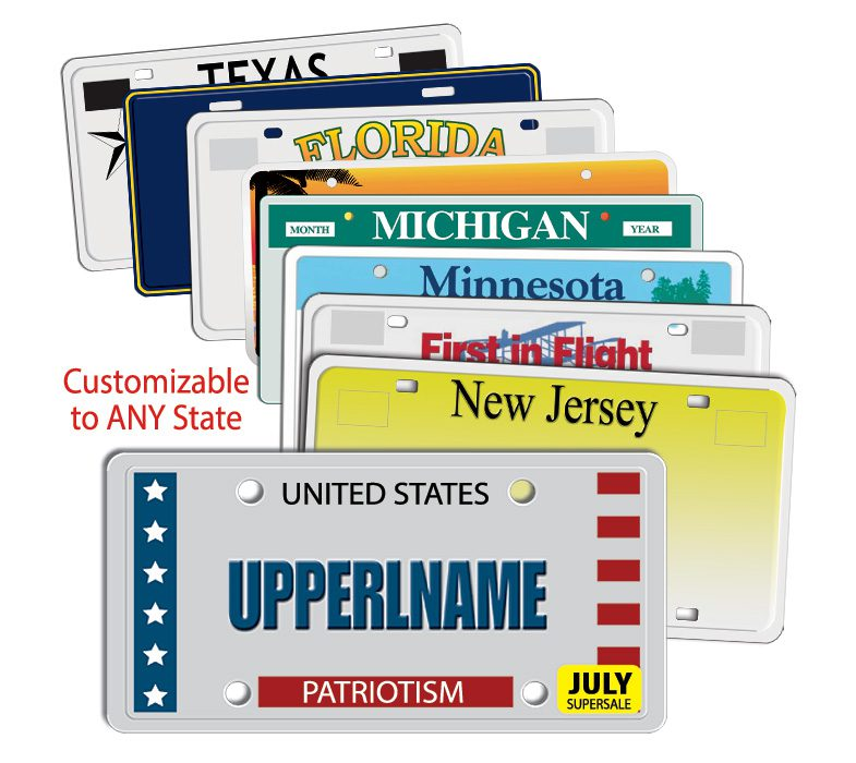 license plate direct mail sample plates