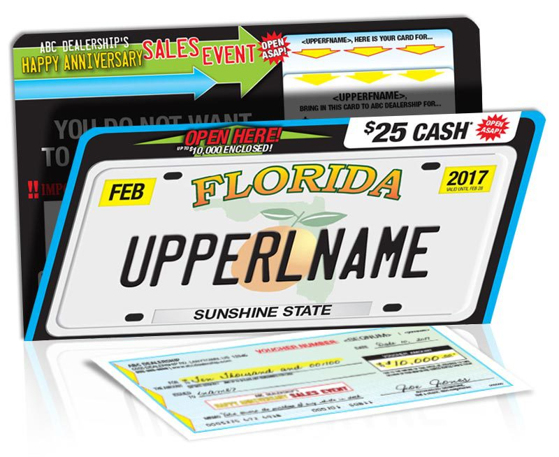 license plate self mailer with voucher