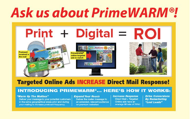 PrimeWarm Targeted Online Advertising with Direct Mail Combo