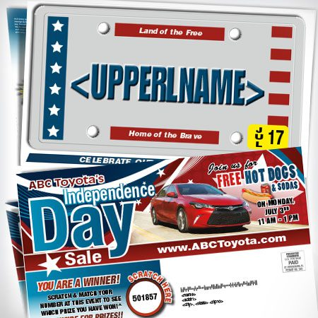 License Plate Mailer Independence Day thumb