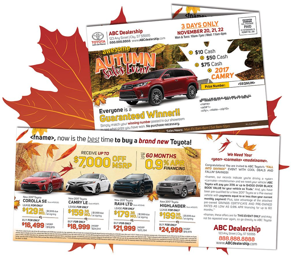 off-fold self mailers - Fall Mailer Ideas Autumn Advertising