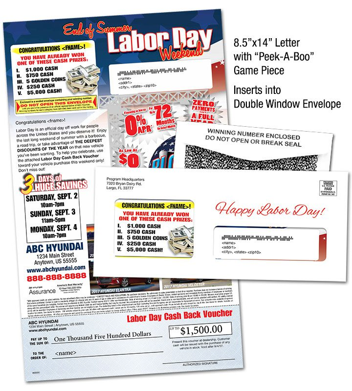 Labor Day Letter with Peek-a-Boo Game Piece