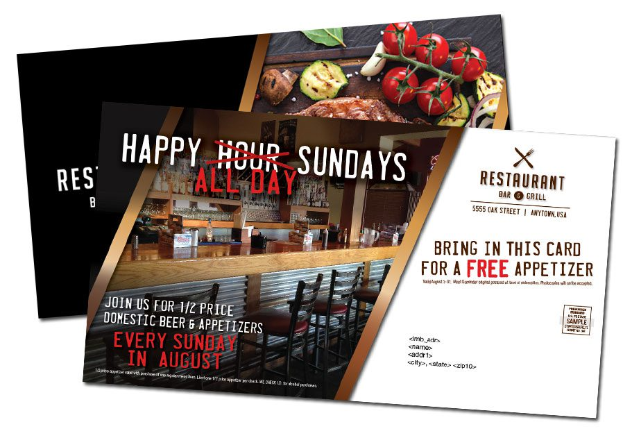 restaurant direct mail postacard sample
