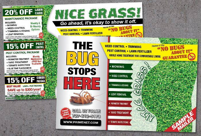 Pest Control Direct Mail Lawn Service Postcards