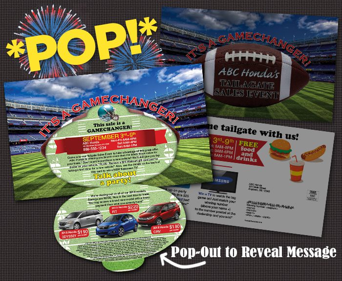 Die-Cut Pop Mailer Football, Ear, Pie, Turkey, Rainbow, etc