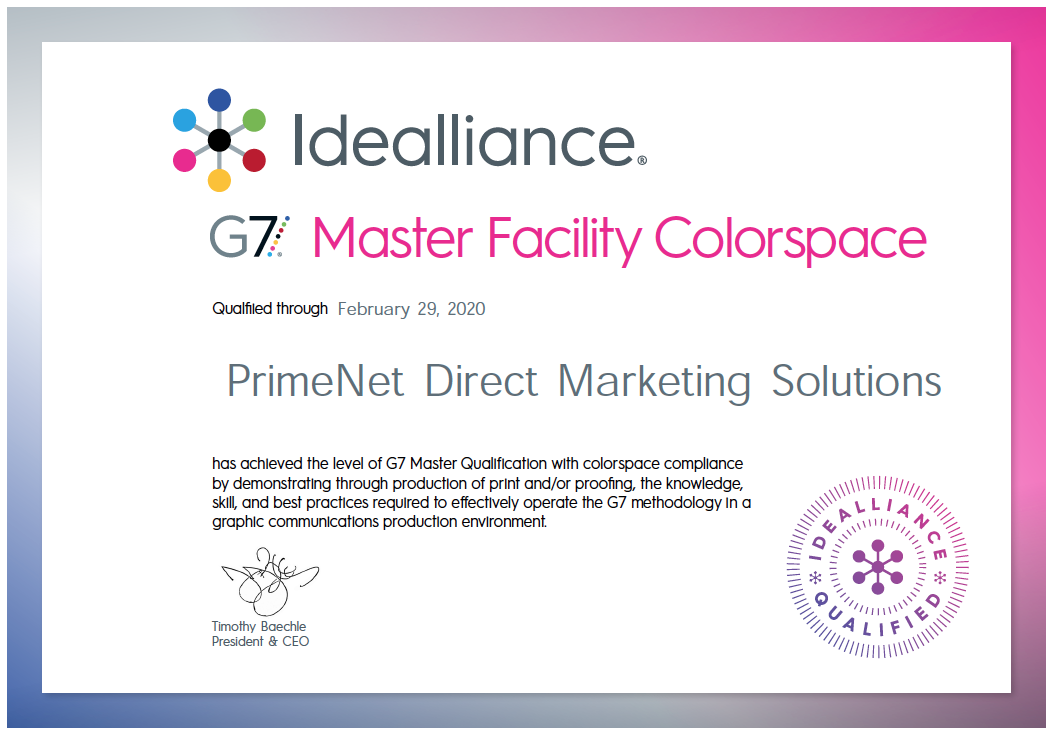 G7 Compliance Commercial Printing Certification