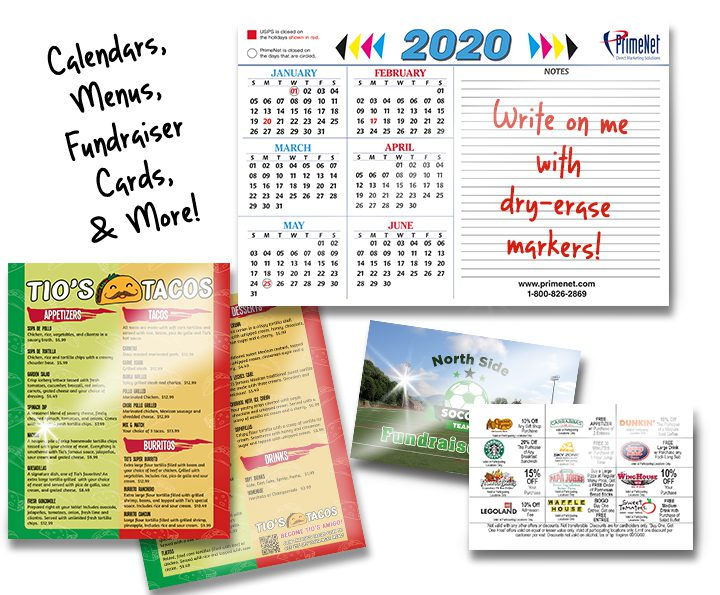 Laminated Menus, Calendars, and Fundraiser Cards