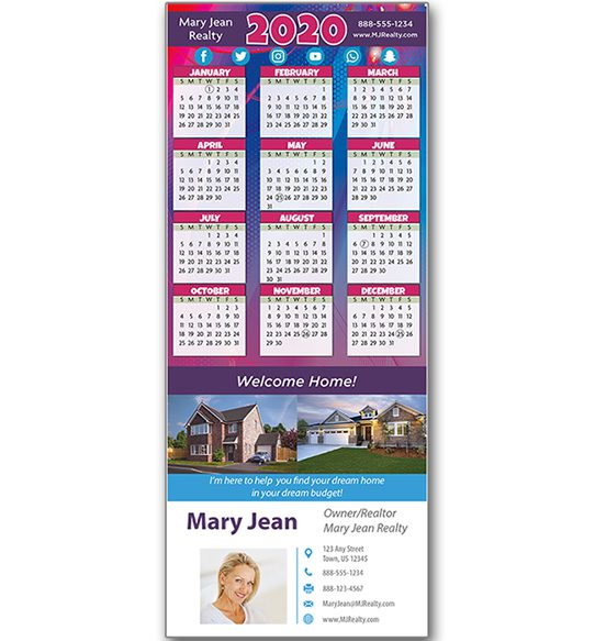 business card printing, calendar with business card, real estate calendar