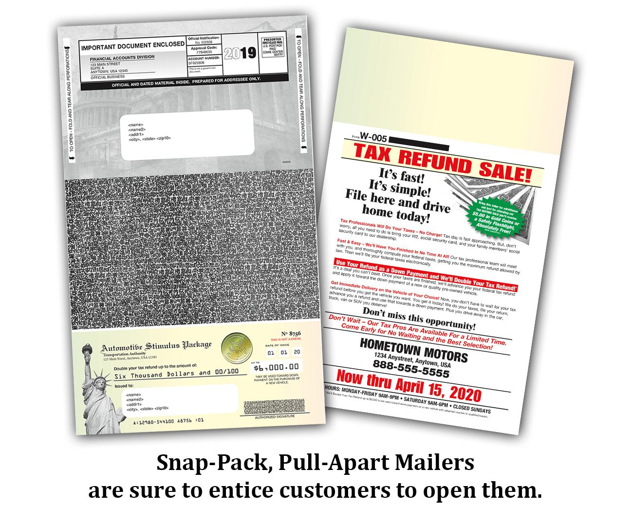 Snap Pack, Tear Off, Pull Apart Mailers, Tax Season Marketing W2 Mail