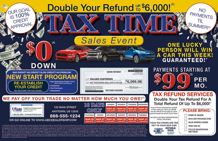 Tax Time Sales Event Mailer Tax Season Marketing