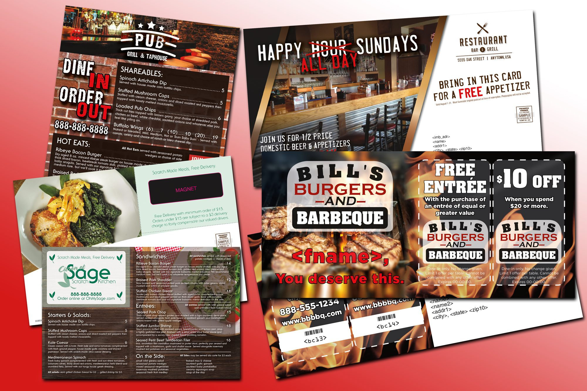 laminated postcards, magnet post card, restaurant menu