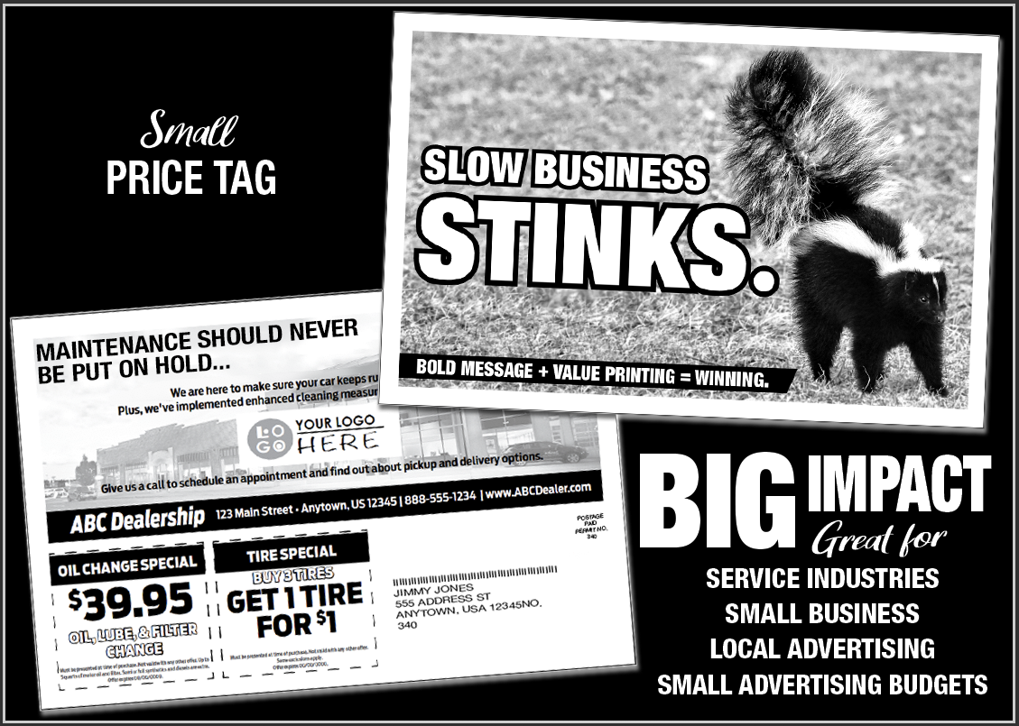 Black and White Direct Mail Laser Promo Graphic
